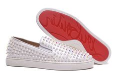 9a0338470314 Christian Louboutin White Pearl Spike Low Sneakers  ChristianLouboutin.  Branded Womens Fashion Catwalk