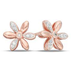 Zales 1/6 CT. T.w. Diamond Lotus Flower Stud Earrings in Sterling Silver with 18K Gold Plate qBCkAX