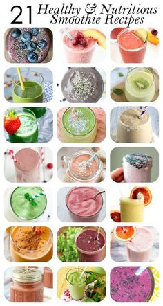 Healthy Smoothies Recipe 21 Healthy Smoothie Recipes (for breakfast, energy and more!) - Here are 21 delicious, nutritious healthy smoothie recipes to start off your morning right. Juice Smoothie, Smoothie Drinks, Dinner Smoothie, Power Smoothie, Smoothie Prep, Juice Drinks, Yummy Drinks, Healthy Drinks, Healthy Recipes