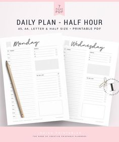 Daily Planner Day on 1 Page Half Letter Size Daily Agenda Filofax Insert Hourly Dated Kikki K Inserts Planner Printables