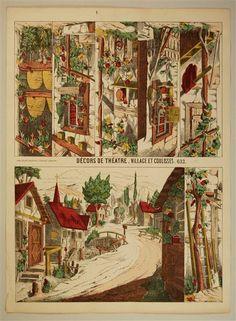 Décors de Théâtre. Village et coulisses. 632.