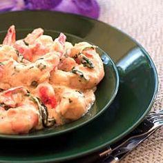 Shrimp in Cilantro Cream Sauce -- Camarones En Crema Con Cilantro Recipe Main Dishes with shrimp, water, salted butter, flour, shrimp stock, onions, olive oil, roma tomatoes, garlic, salt, pepper, heavy cream, white wine, fresh cilantro