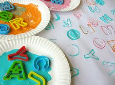 "Painting with Alphabet Cookie Cutters ("",)"