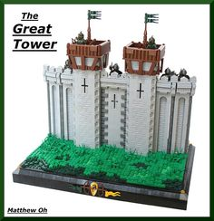 So awesome! Well, I should call it great…since it's the Great Tower! I love how he was able to add the crosses into the sides of the tower. The stones look very realistic, and the guard towers are awesome. I also like the very bottom, with the two bow a Lego Burg, Medieval Tower, Lego Knights, The Minotaur, Amazing Lego Creations, Lego Castle, Lego Worlds, Lego Moc, Lego Building