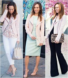 Sydne Style how to wear a pink jacket fashion trend spring 2015 express outfit ideas pastels