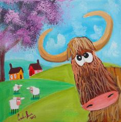 Highland cow sheep Scottish British folk art original oil painting Gordon Bruce | eBay