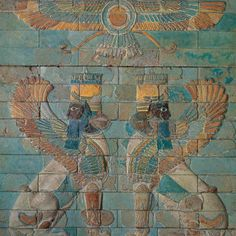 Polychrome glazed brick panel with sphinxes —emblem of the god Ahura Mazdā— from the palace of the Persian king Darius I at Susa (Babylonian: Šušim; now Shush, Iran) ~ BC Louvre Museum Ancient Aliens, Ancient History, Art History, Ancient Mesopotamia, Ancient Civilizations, Ancient Mysteries, Ancient Artifacts, Ahura Mazda, Middle Eastern Art