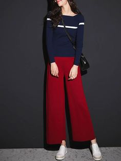 Red Acrylic Casual Wide Leg Pants