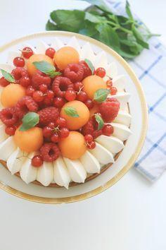 Tarte framboises, melon et basilic - Recette Olivia Pâtisse