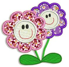 "This free embroidery design is called ""Happy Flowers""."