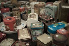 Vintage boxes in some flea market lost in Amsterdam. mairafrappe on tumblr