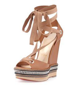 Christian Louboutin Sandales, Chaussure, Sandales Compensées Marrons, Sandales  À Lanières, Chaussures À 878656348e15