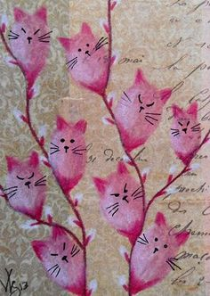 Kitties on branch pink. Kawaii Drawings, Cute Drawings, Ink Drawings, Crazy Cat Lady, Crazy Cats, C Is For Cat, Unicorn Art, Inspiration For Kids, Inspiration Boards