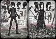 Characters sheet by DemiseMAN on DeviantArt Emo Art, Goth Art, Sketch 2, Quick Sketch, Supernatural Art, Creepy Pictures, Creepy Art, Scary, Character Sheet