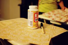TV Tray Upcycle: scrap book paper and mod podge