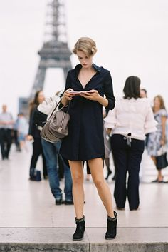 Dutch model Mirte Maas, after Armani Prive, Paris, July 2013. Camilla and Marc Quarterdeck shirtdress, Tory Burch Milan mid heel suede booties.