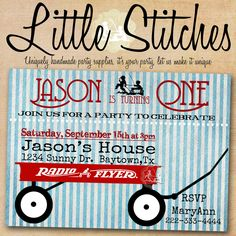 Little Red Wagon Radio Flyer Party Invitation. $13.00, via Etsy.