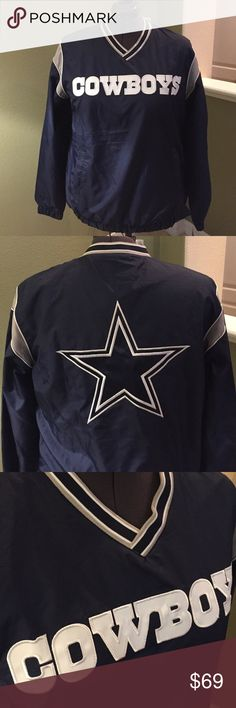 NFL Dallas Cowboys Pullover Jacket – Men's Large NFL Dallas Cowboys Jacket – Men's Large Pullover Jacket has a side zipper to easily pull over. Get ready for the season with this Dallas Cowboys Coaches jacket! The festive Dallas Cowboys graphics and colors will let everyone know where your allegiances lie!  New with tags - Men's Large. Machine wash, tumble dry low  🤔 Ask any & all questions ✅Use Offer Button 🚭& 🐶😺🐠Free Home 🚫Trades/Offline Transactions 📦Bundle & Save Nike Shirts