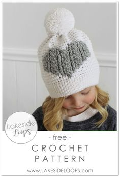 It really is CROCHET! This free crochet cable heart hat pattern has a knit look but is entirely worked up using easy crochet stitches. This classic yet modern toque can be made in 5 different sizes including Baby, Toddler, Child, and Adult. Crochet Hat With Brim, Crochet Kids Hats, Crochet Beanie Hat, Knitted Hats, Headband Crochet, Beanie Hats, Crochet Cable, Crochet Stitches, Free Crochet