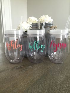 Personalized Wine Tumbler, Stemless Acrylic Wine Tumbler, Bridesmaid Gift, Custom Monogrammed Tumbler, Bachelorette Par by on Etsy Bachelorette Gift Bags, Gifts For Wedding Party, Party Gifts, Wedding Stuff, Wedding Ideas, Acrylic Tumblers, Personalized Tumblers, Wine Tumblers, Bridesmaid Gifts