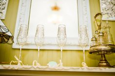 champagne flutes - i also have matching and other vintage wine glasses