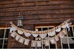 33 Creative Wedding Signs to Bring Personality to Your Big Day: With a dainty lace garland and letters stamped on burlap, this hanging banner is rustic charm at its finest. Source: Sloan Photographers via Green Wedding Shoes Wedding Signs, Our Wedding, Wedding Stuff, Wedding Tables, Wedding Bells, Wedding Centerpieces, Wedding Cake, Wedding Reception, Lace Garland