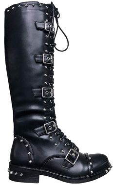 0e32bbe270f66 Pazzle Bambi Women Military Combat Spikes Studs Lace Up Buckle Knee High  Boots Black