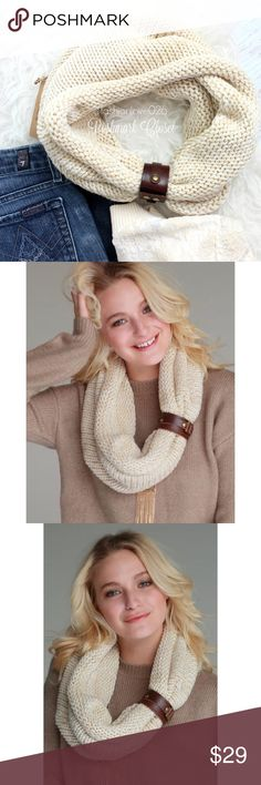 Light Cream Infinity Scarf With Leather Cuff An infinity scarf with a removable leather cuff bracelet Justin & Taylor Accessories Scarves & Wraps