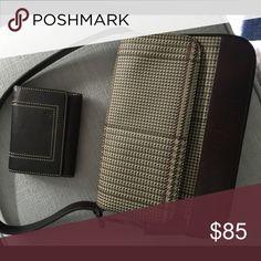 Ralph Lauren plaid handbag with matching Wallet Beautiful leather RL handbag classic plaid with brown leather bottom and strap with matching Wallet Ralph Lauren Bags Wallets