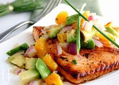 CITRUS-GLAZED SALMON WITH AVOCADO SALSA    Impress someone with very little effort with this gorgeousness!  Fast and easy this dish has the lightest flavors, but they all work to make it spicy-sweet and the salmon buttery-smooth.  If you can, using fresh salmon with this is the best.
