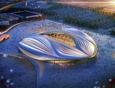 zaha hadid-designed 'al wakrah stadium' in qatar set to open in just south of doha, the arena's fluid form is said to resemble the sails of the region's dhow boats. The post zaha hadid-designed 'al wakrah stadium' in qatar set to open in 2018 a Zaha Hadid Architecture, Stadium Architecture, Futuristic Architecture, Amazing Architecture, Architecture Design, Building Architecture, Architecture Office, Building Design, Zaha Hadid Design