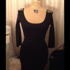 LITTLE BLACK MINI DRESS STUDDED SHOULDERS sz L NWT New With Tags, LBD Little Black Dress, sz L, fitted Lycra dress with Gold Studded shoulders.  Will ship right away.  Check out my other amazing items Dresses Mini
