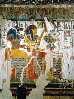 Tomb of Nefertari A project of the Getty Conservation Institute East side of the north wall in Chamber K (the burial chamber) after final treatment. The wall painting depicts the gods Anubis, Hathor, and Osiris. Ancient Egyptian Architecture, Ancient Egyptian Art, Ancient History, Valley Of The Kings, Ancient Civilizations, Egyptians, Luxor Egypt, Anubis, Ancient Artifacts