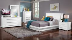 American Signature Furniture - Dimora White Bedroom Collection-King Bed $549.99