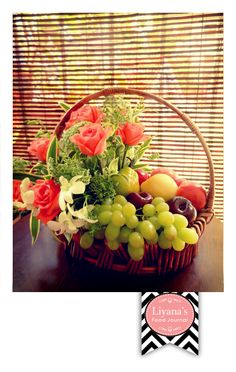 I have been waiting for a while (*with itchy fingers) to get my hand on doing flower arrangement for hantaran. Finally today I get to practi. Fruit Flower Basket, Fruits Basket, Basket Flower Arrangements, Floral Arrangement, Homemade Gift Baskets, Fruit Centerpieces, Fruit Gifts, Beautiful Fruits, Fruit Displays
