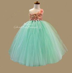 mint coral flowers | Mint Green Flower Girl Dresses Blush and mint green flower