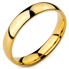 3ef8857b2d9c MunkiMix Ancho 4mm Acero Inoxidable Anillo Ring Banda Venda Oro Dorado Tono  Alianzas Boda Talla Tamaño
