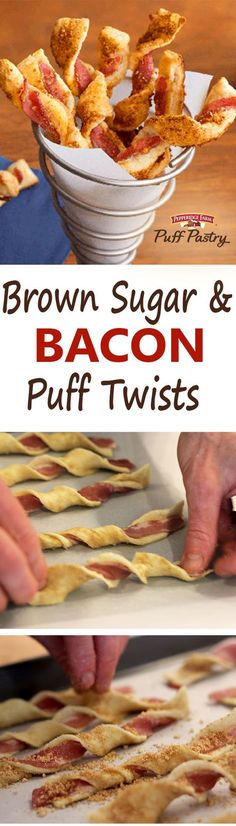 Brown Sugar & Bacon Puff Pastry Twists Recipe. When in doubt, serve bacon! Delight your party guests with these Puff Pastry twists featuring bacon, brown sugar and some kicked-up Parmesan cheese. They're a distinctive, delicious and flavorful appetizer – and will surely be a hit at your holiday gathering! http://www.puffpastry.com/recipe/61476/brown-sugar-bacon-puff-twists