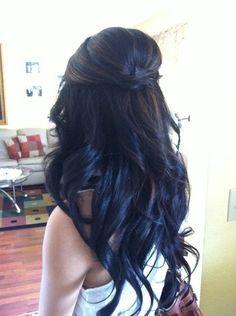 Long dark hair.