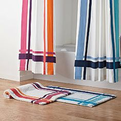 Ribbon Square Bath Rug in cool blue and warm coral!