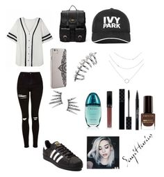 """""""Sans Titre#146"""" by musicloverj1 ❤ liked on Polyvore featuring Topshop, adidas, Sole Society, Nanette Lepore, Ivy Park, Gucci, Trish McEvoy, Max Factor and Calvin Klein"""