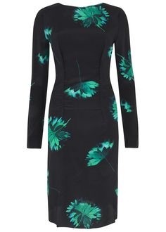 Nina Ricci black�silk�dress� Green floral print, ruched front, A-line Concealed zip fastening through back � 100% silk
