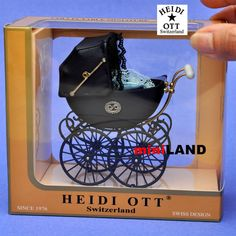 XZ106 Heidi Ott DollHouse miniature1:12 quality victorian antique Pram grey