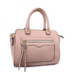 Spring Collection, Double Handle Designer Inspired Satchel Bag with Gold Tone Hardware