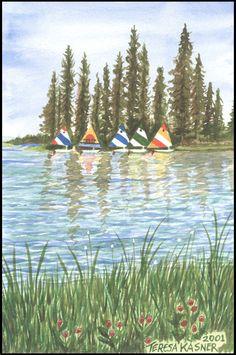 Teresa Kasner's - A R T - G A L L E R Y - Corbett, Oregon Sailboat, Sailing, Hearts, Island, Mountains, Nature, Travel, Viajes, Naturaleza