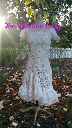 Items similar to The window lady upcycled crochet flapper recycled sustainable boho bridal wedding gown dress ooak pixie gypsy witchy vintage handmade on Etsy White Lace Skirt, Three Days, Refashion, Doilies, Vows, Ruffles, Boho Chic, Wedding Gowns, Upcycle
