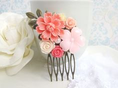 Pink Wedding Bridal Hair Comb. Pink, Light Pink, Ivory, Peach Cream Flowers. Antiqued Brass Leaf. Flowers Colllage Hair Comb Accessory