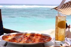 pizza and iced lemon tea at nammos beach club, bali by chare!, via Flickr