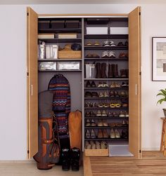 Super Creative shoe storage ideas rv just on dandj home design Shoe Storage Cupboard, Shoe Shelves, Types Of Clothing Styles, Creative Shoes, Slat Wall, Rack Design, Home Landscaping, Shaker Style, Storage Spaces