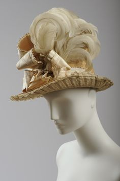 Hat with feathers, circa 1885-1887. Made by Mson Ch & Th.P. Haala Vienne, Wien1., Fürichgasse 6 Foto: Christa Losta © Wien Museum. This hat, with its white cock feathers and elaborate ribbon trimmings, could have been a reason for the prohibition of hats in the Burgtheater: it is an unbelievable 22 cm in height! Local bird feathers were obviously far cheaper than the feathers of imported exotic species.